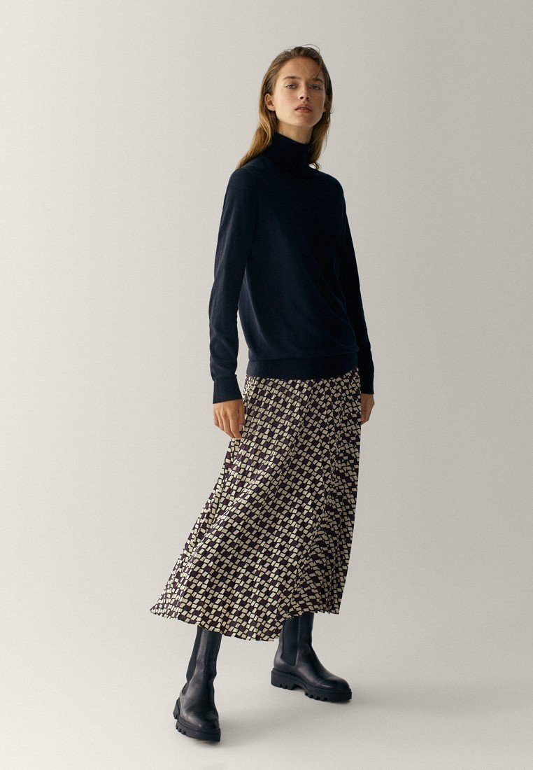 Massimo Dutti - MIT GEOMETRISCHEM PRINT  - Pleated skirt - bordeaux