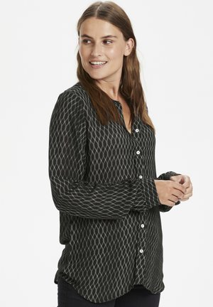 KAKRIASA AMBER - Button-down blouse - black -chalk diamond lines