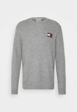 BADGE TEXTURE SWEATER - Jumper - dark grey hather/ecru