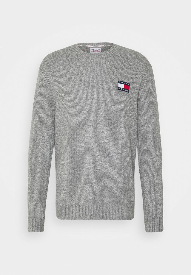 BADGE TEXTURE SWEATER - Strikpullover /Striktrøjer - dark grey hather/ecru