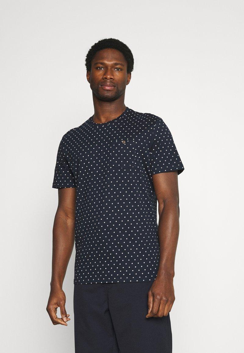 TOM TAILOR - Print T-shirt - navy/white