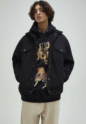 JEANSJACKE MIT LAMMFELLIMITAT - Veste en jean - mottled black
