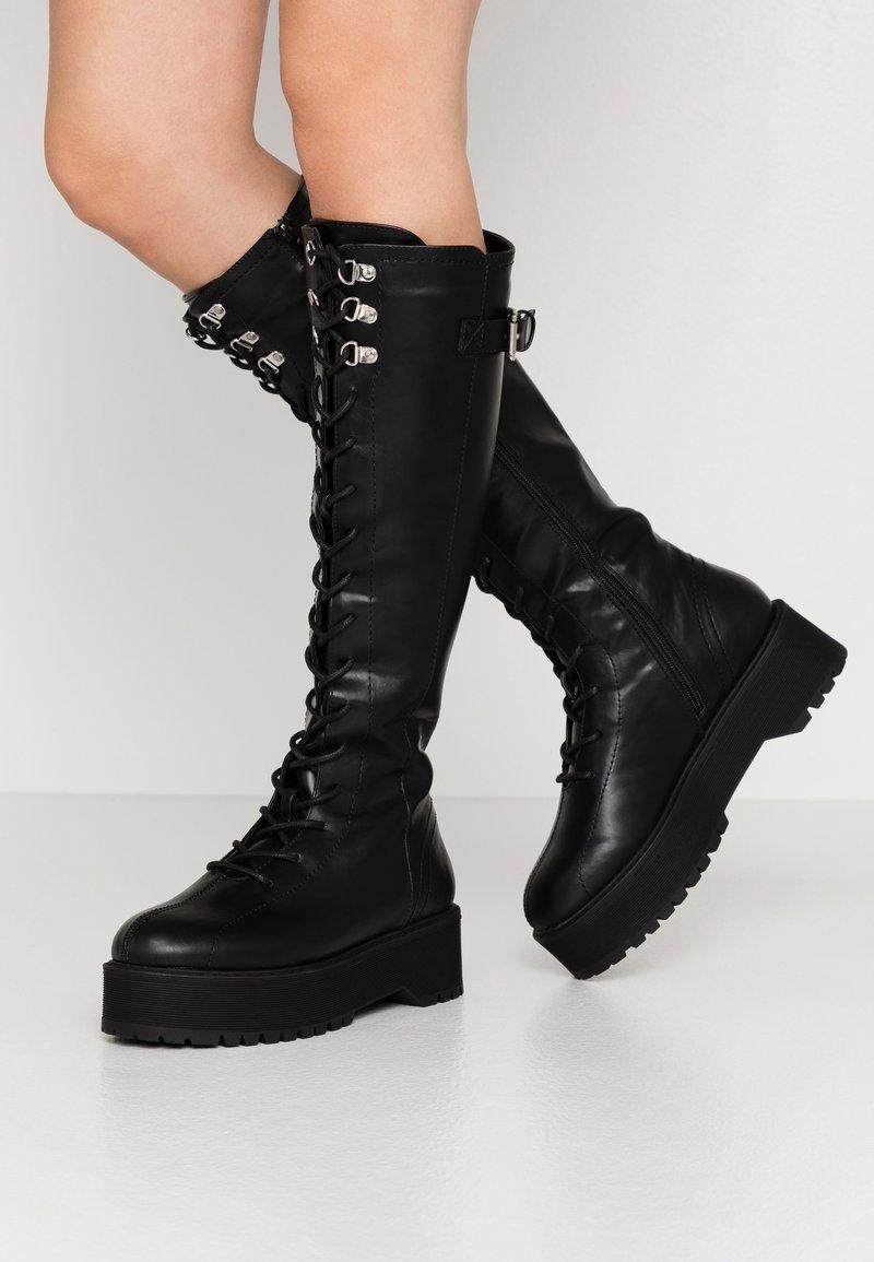 Even&Odd - Botas con cordones - black