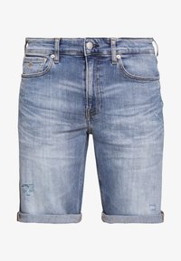 REGULAR - Denim shorts - bright blue destroyed