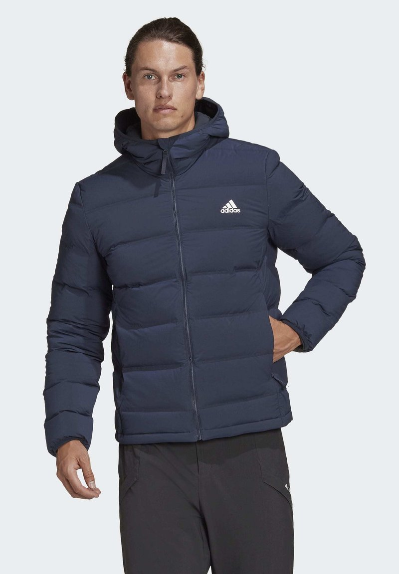adidas Performance - HELIONIC SOFT HOODED DOWN JACKET - Down jacket - blue