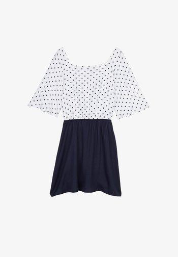 AUS VISKOSETUCH MIT KASTENAUSSCHNITT - Day dress - bianco st.regular pois blu