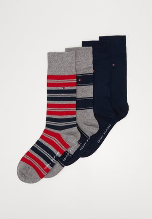 SOCK STRIPE GIFTBOX 4 PACK - Strumpor - dark blue/grey