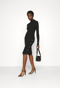 Vila - VISOLTO BUTTON DRESS - Shift dress - black - 1