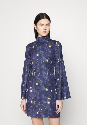 HIGH NECK MINI MOON AND STARS DRESS