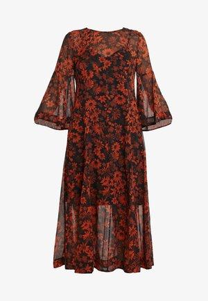 IRREGULAR GODET - Sukienka letnia - darkest black/orange