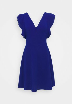 V NECK FRILL SLEEVE DRESS - Jerseykjole - cobalt blue