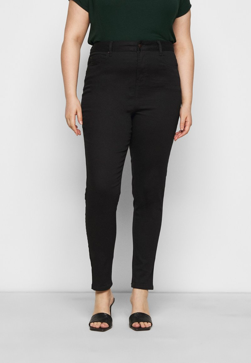 New Look Curves - WASHED LIFT AND SHAPE - Jeansy Skinny Fit - black