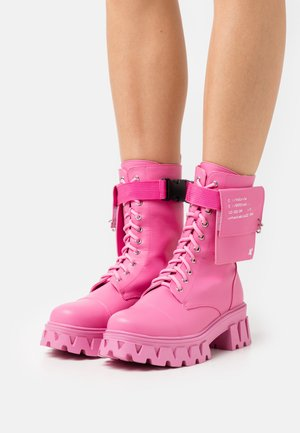 VEGAN BANSHEE - Lace-up ankle boots - pink