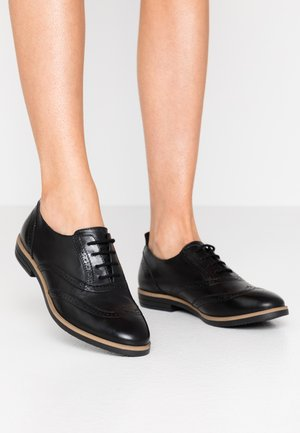 LEATHER FLAT SHOES - Lace-ups - black