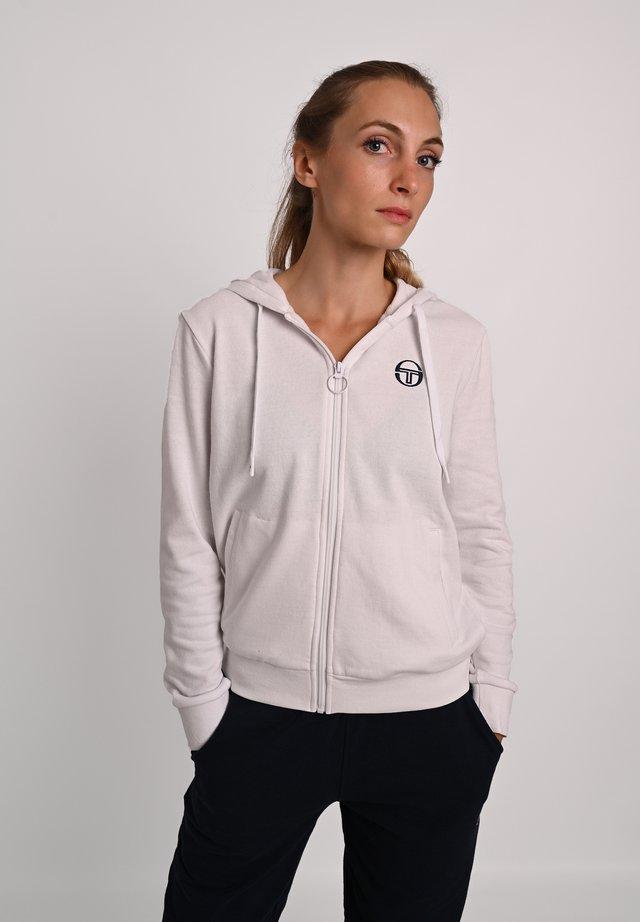 Zip-up hoodie - light pink, dark blue