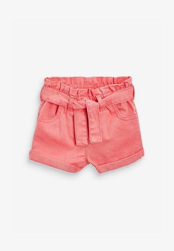 WITH TIE BELT  - Denim shorts - coral