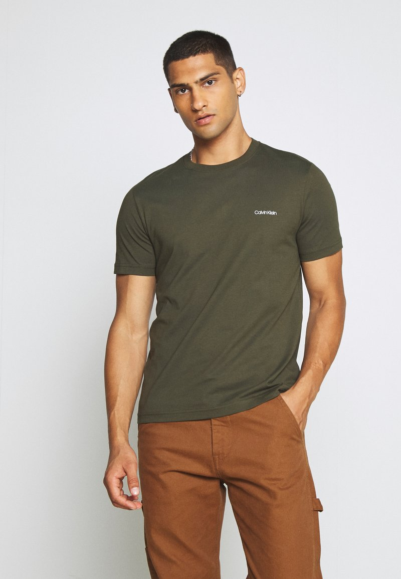 Calvin Klein - CHEST LOGO - Jednoduché triko - green