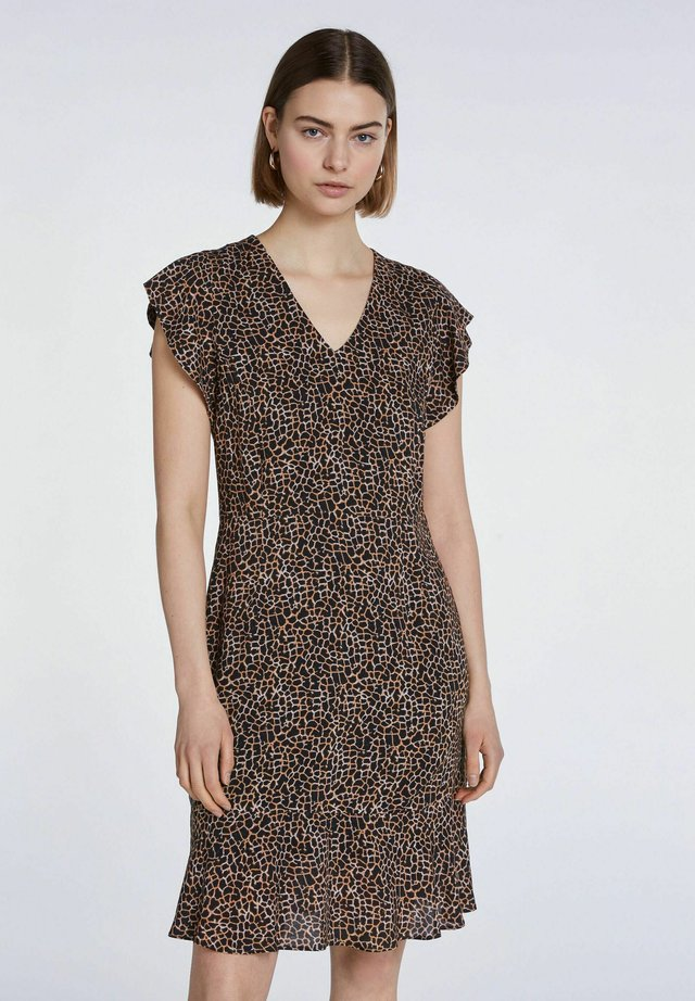 SHORT SLEEVE - Day dress - dark brown camel