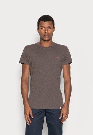 REGULAR EMBROIDERED - Basic T-shirt - brown melange