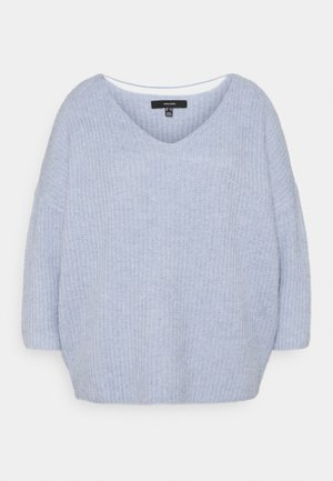 VMJULIE V-NECK BLOUSE - Jumper - blue fog/melange