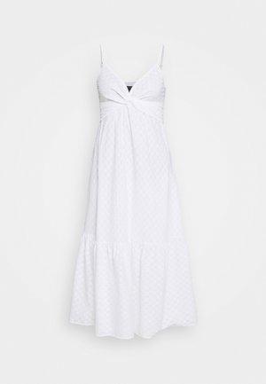 STRAPPY TWIST FRONT FLOUNCE HEM SHEATH CLIP DOT - Day dress - white