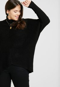 CAPSULE by Simply Be - ELEVATED ESSENTIALS HIGH NECK DETAIL JUMPER - Jumper - black - 3