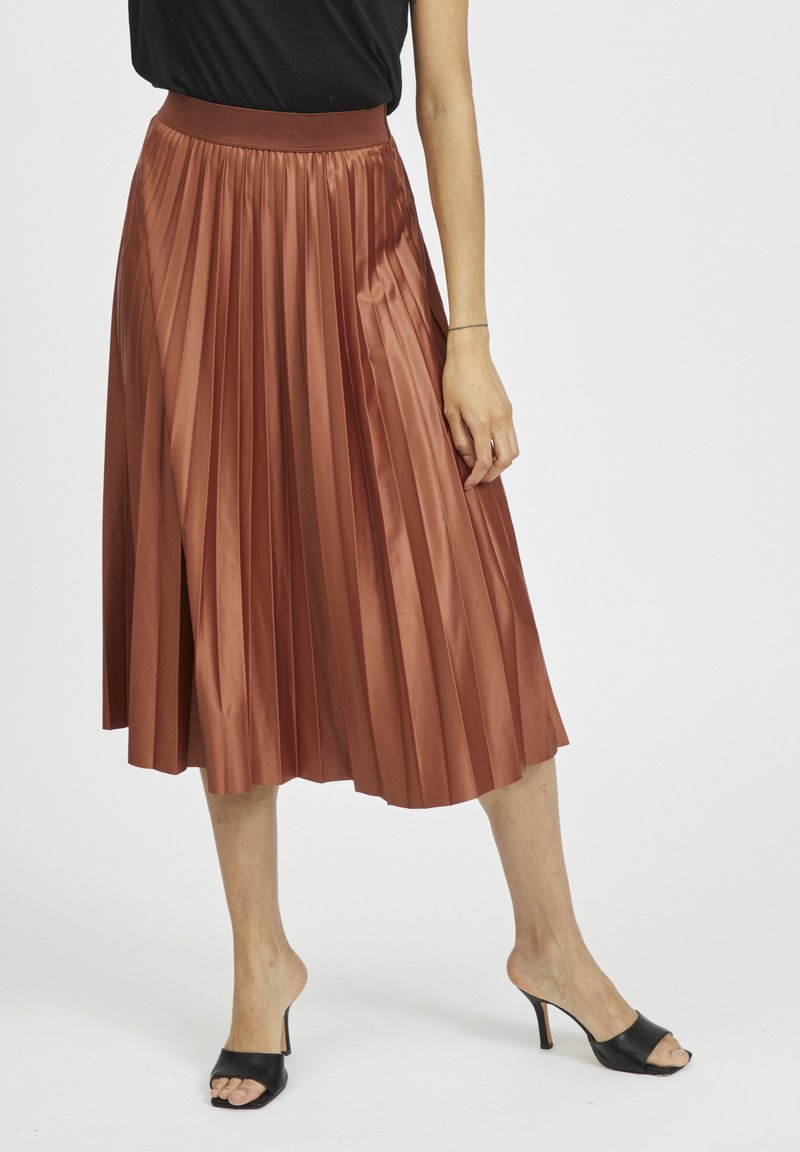 Vila - Pleated skirt - tobacco brown