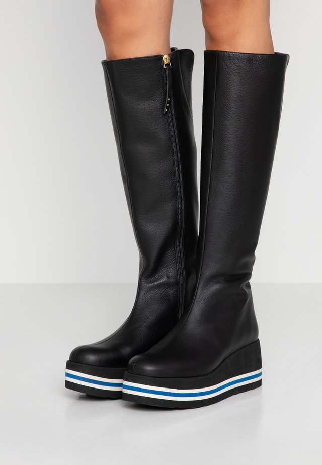 SOLCIRE - Wedge boots - black/blu