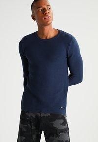 Only & Sons - ONSDAN STRUCTURE CREW NECK  - Stickad tröja - dress blues - 0