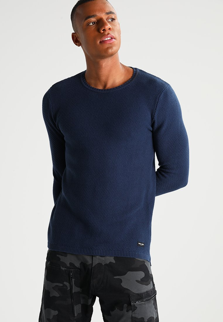 Only & Sons - ONSDAN STRUCTURE CREW NECK  - Stickad tröja - dress blues