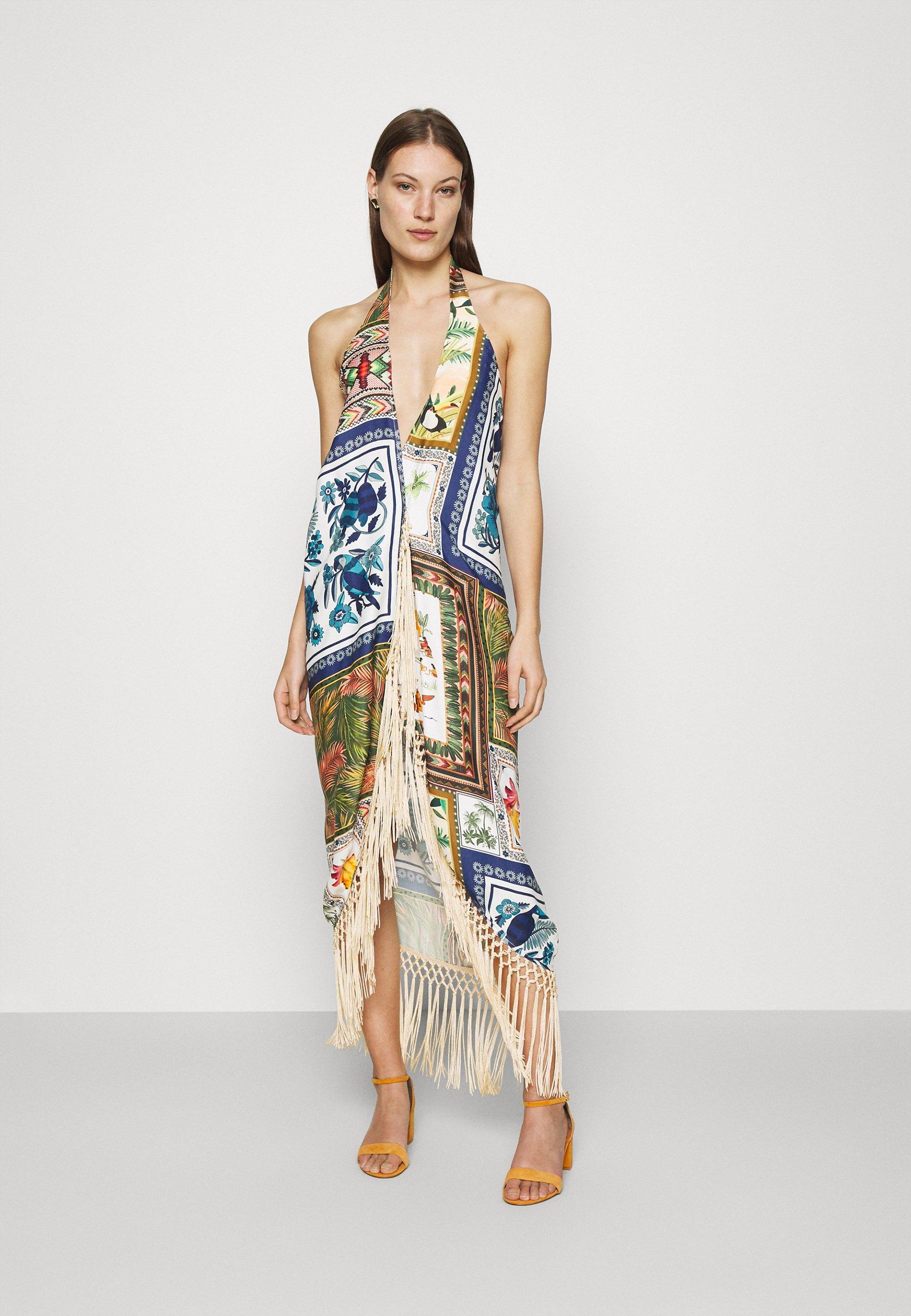 Women MIXED SCARFS CROSSED FRONT DRESS - Maxi dress