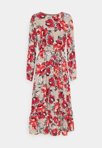 Vila - VIDOTTIES MIDI DRESS - Vardagsklänning - humus with red flowers - 0