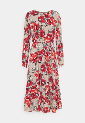 VIDOTTIES MIDI DRESS - Maxiklänning - humus with red flowers