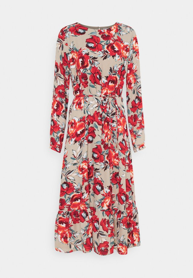 VIDOTTIES MIDI DRESS - Vapaa-ajan mekko - humus with red flowers
