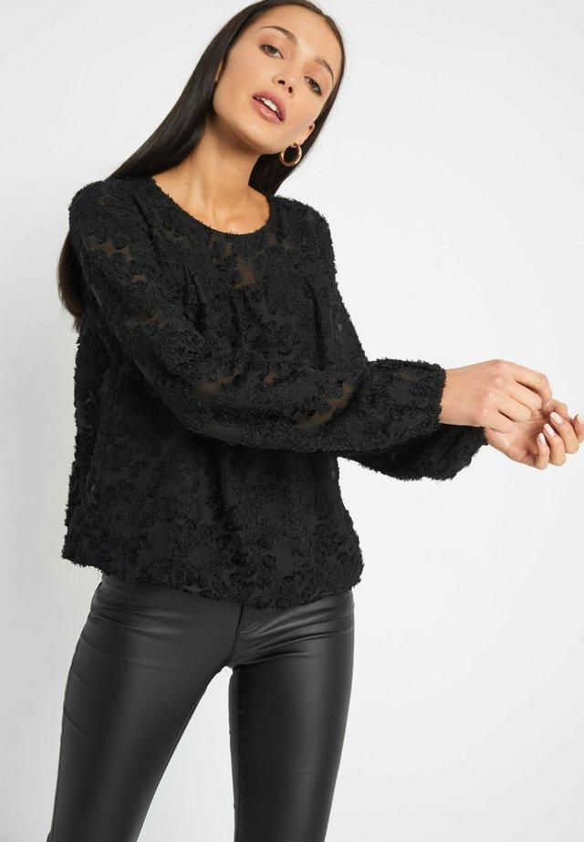 MIT BLUMENMUSTER - Bluse - schwarz