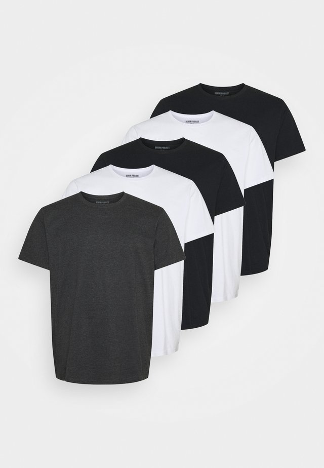 PLUS 5 PACK - Jednoduché triko - black/white
