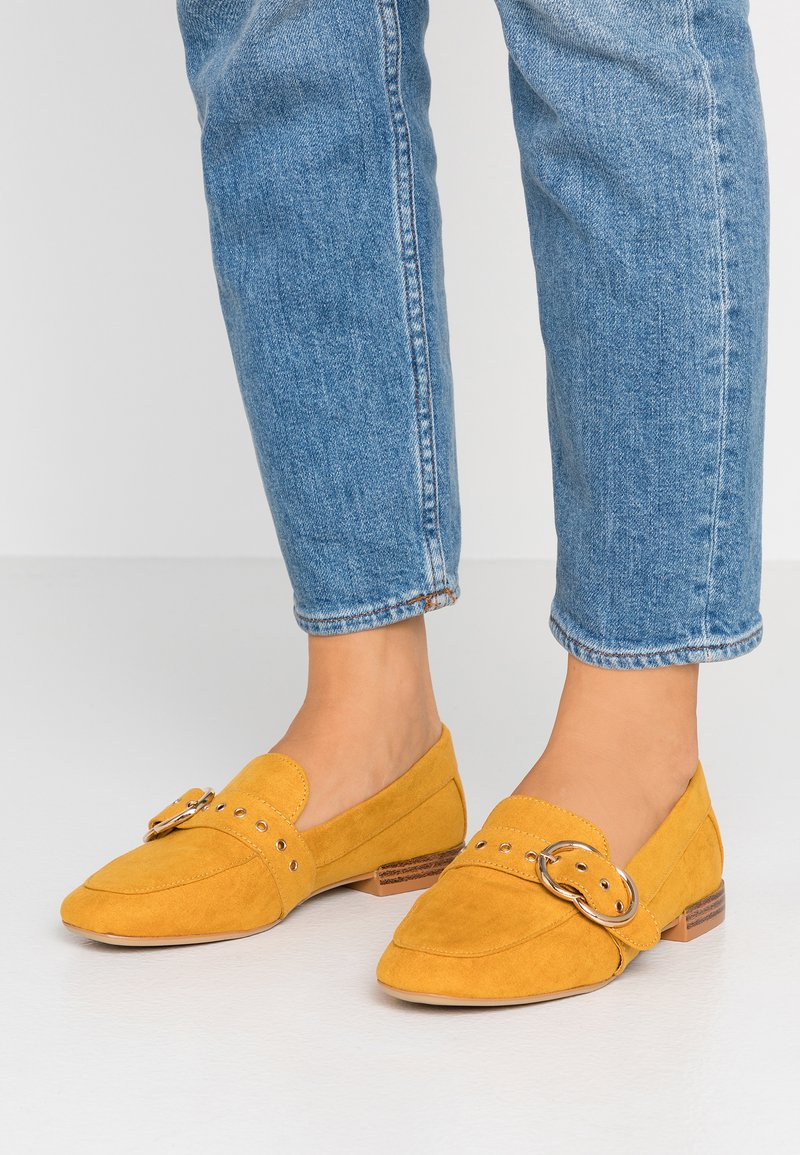 Dorothy Perkins Wide Fit - WIDE FIT LOLA BUCKLE LOAFER - Slip-ons - yellow