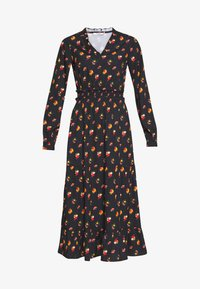 NA-KD - RUFFLE DETAILS FLOWY MIDI DRESS - Kjole - black/orange - 3