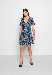 MICHAEL Michael Kors - BOLD FLARE DRESS - Day dress - black/ vintage blue - 1