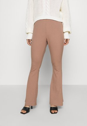 WIDE LEG TROUSERS - Tygbyxor - taupe