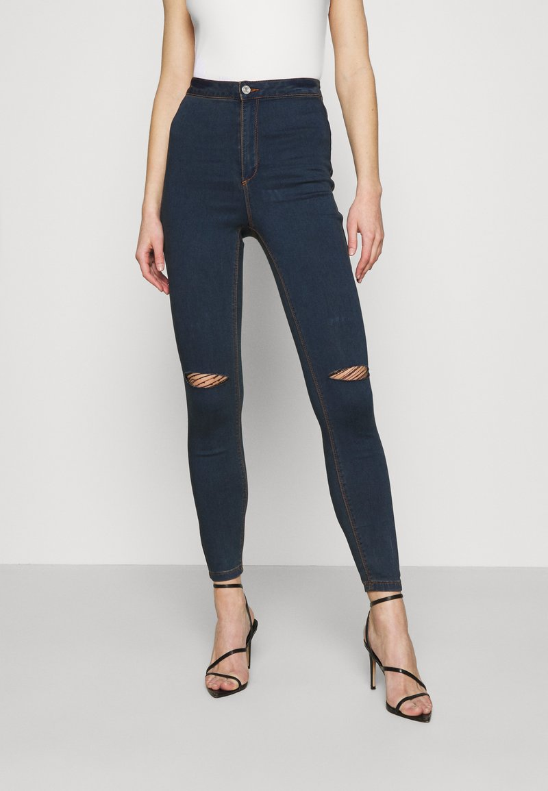 Missguided - VICE HIGHWAISTED SLASH KNEE - Jeans Skinny Fit - indigo