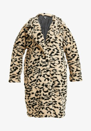 OVERSIZED LEOPARD BORG - Classic coat - brown