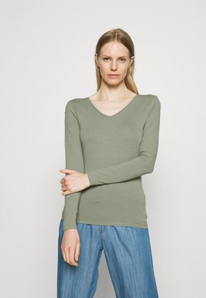 FITTED V NECK - Long sleeved top - khaki