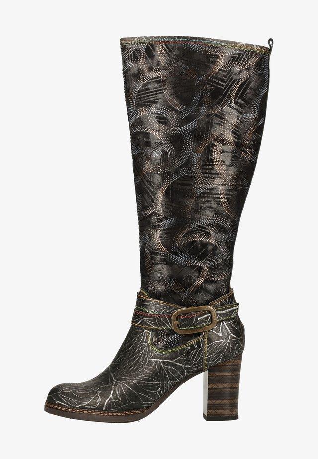 High heeled boots - acier