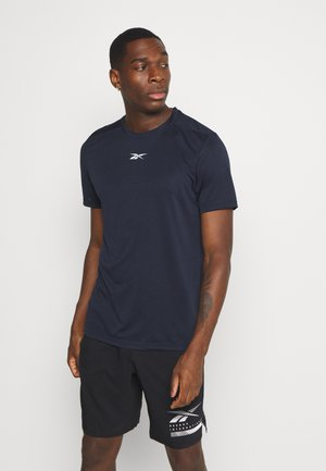 WOR MELANGE TEE - T-shirt z nadrukiem - navy