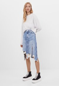 Bershka - A-line skirt - blue denim - 1