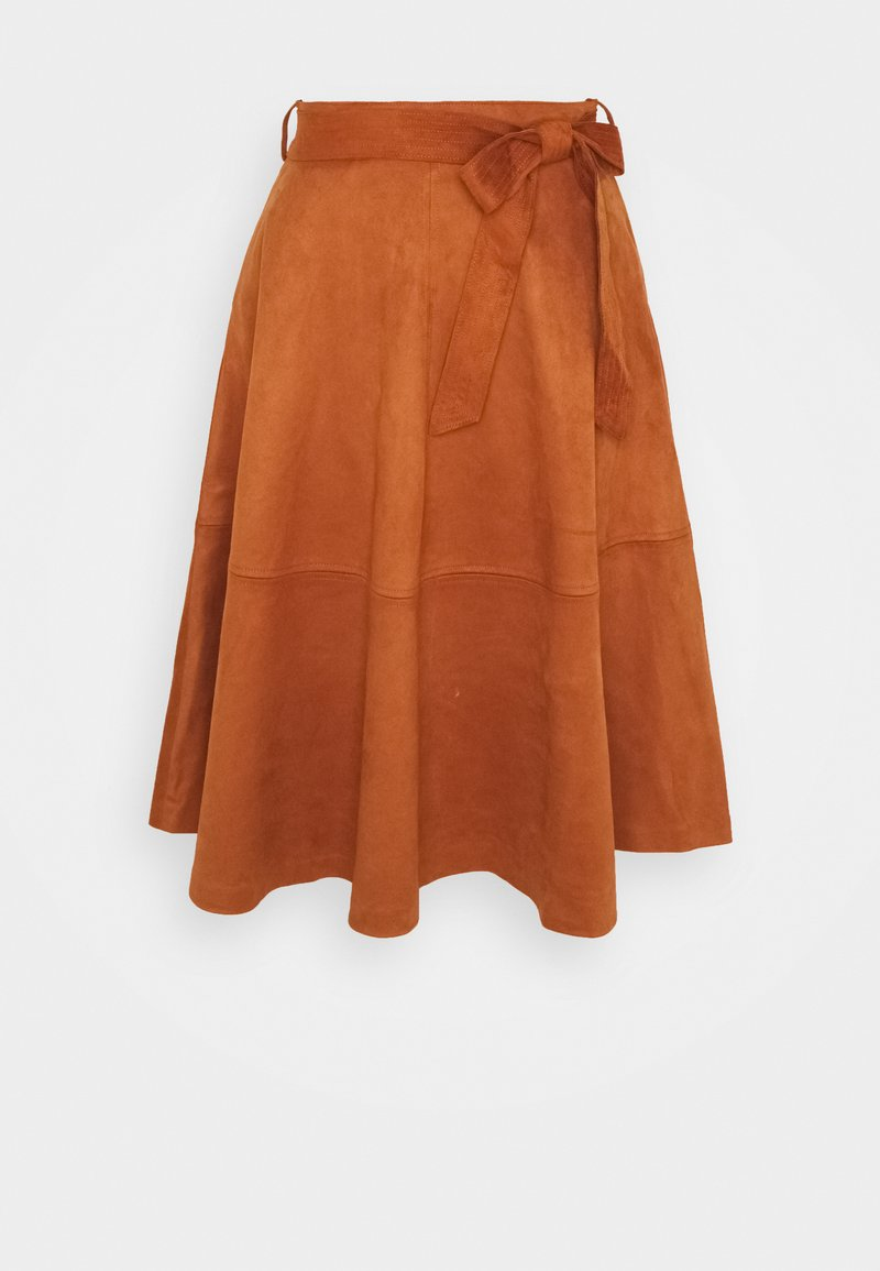 Vila - VIDARLEY MIDI SKIRT - A-line skirt - mocha bisque