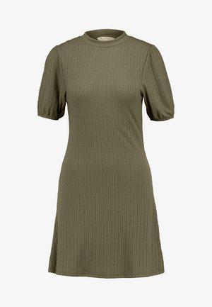 PUFF SLEEVE MINI DRESS - Vestido de punto - khaki