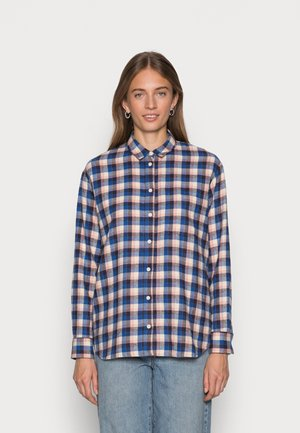 SUNDAY BLUE PINK CHECK PLAID - Button-down blouse - blue shadow