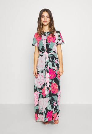 PETITE FLORAL PLEAT FRONT KEYHOLE MAXI DRESS - Długa sukienka - black
